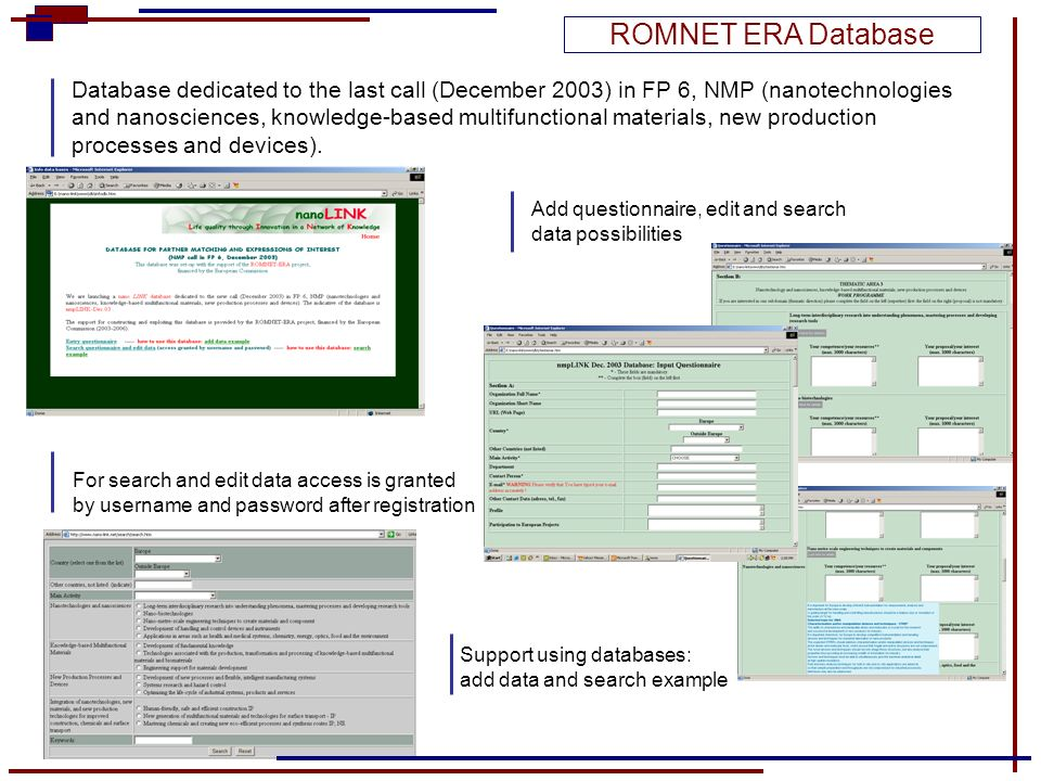 For search and edit data access is granted by username and password after registration Database dedicated to the last call (December 2003) in FP 6, NM