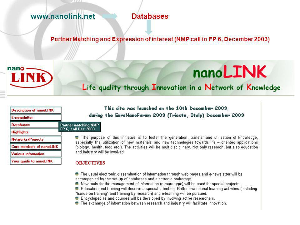 Databases Partner Matching and Expression of interest (NMP call in FP 6, December 2003)