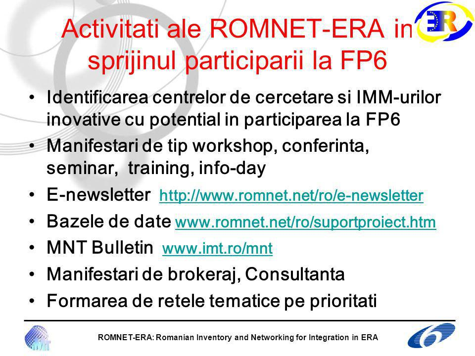 Activitati ale ROMNET-ERA in sprijinul participarii la FP6 Identificarea centrelor de cercetare si IMM-urilor inovative cu potential in participarea la FP6 Manifestari de tip workshop, conferinta, seminar, training, info-day E-newsletter   Bazele de date     MNT Bulletin   Manifestari de brokeraj, Consultanta Formarea de retele tematice pe prioritati ROMNET-ERA: Romanian Inventory and Networking for Integration in ERA