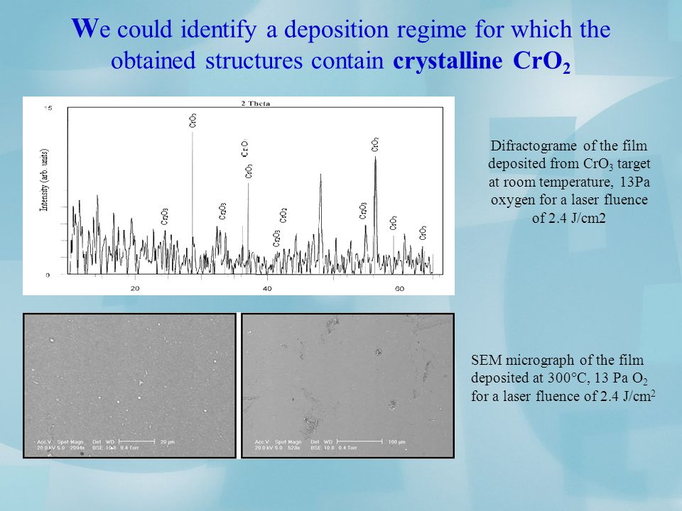 W e could identify a deposition regime for which the obtained structures contain crystalline CrO 2 Difractograme of the film deposited from CrO 3 target at room temperature, 13Pa oxygen for a laser fluence of 2.4 J/cm2 SEM micrograph of the film deposited at 300 C, 13 Pa O 2 for a laser fluence of 2.4 J/cm 2