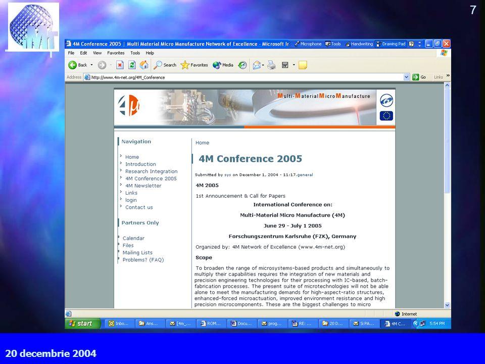 September 2003 7 MEC, Cardiff University 20 decembrie 2004