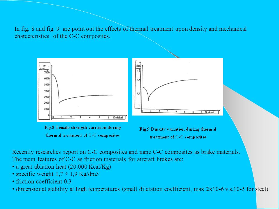 In fig. 8 and fig. 9 are point out the effects of thermal treatment upon density and mechanical characteristics of the C-C composites. Recently resear