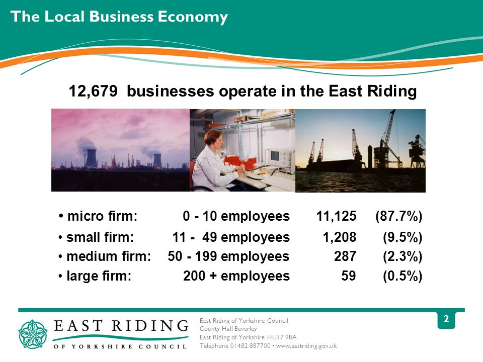 East Riding of Yorkshire Council County Hall Beverley East Riding of Yorkshire HU17 9BA Telephone 01482 887700 www.eastriding.gov.uk 3 East Riding Context Population for East Riding is approx 337,000 and rising The GVA produced by the East Riding is £4,347bn.