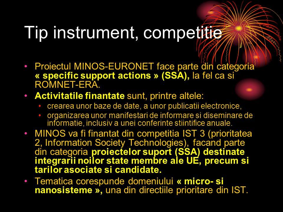 Tip instrument, competitie Proiectul MINOS-EURONET face parte din categoria « specific support actions » (SSA), la fel ca si ROMNET-ERA.
