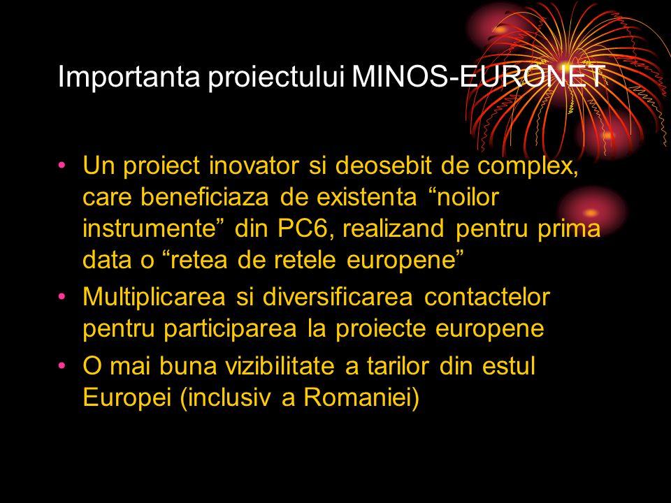 Importanta proiectului MINOS-EURONET Un proiect inovator si deosebit de complex, care beneficiaza de existenta noilor instrumente din PC6, realizand pentru prima data o retea de retele europene Multiplicarea si diversificarea contactelor pentru participarea la proiecte europene O mai buna vizibilitate a tarilor din estul Europei (inclusiv a Romaniei)