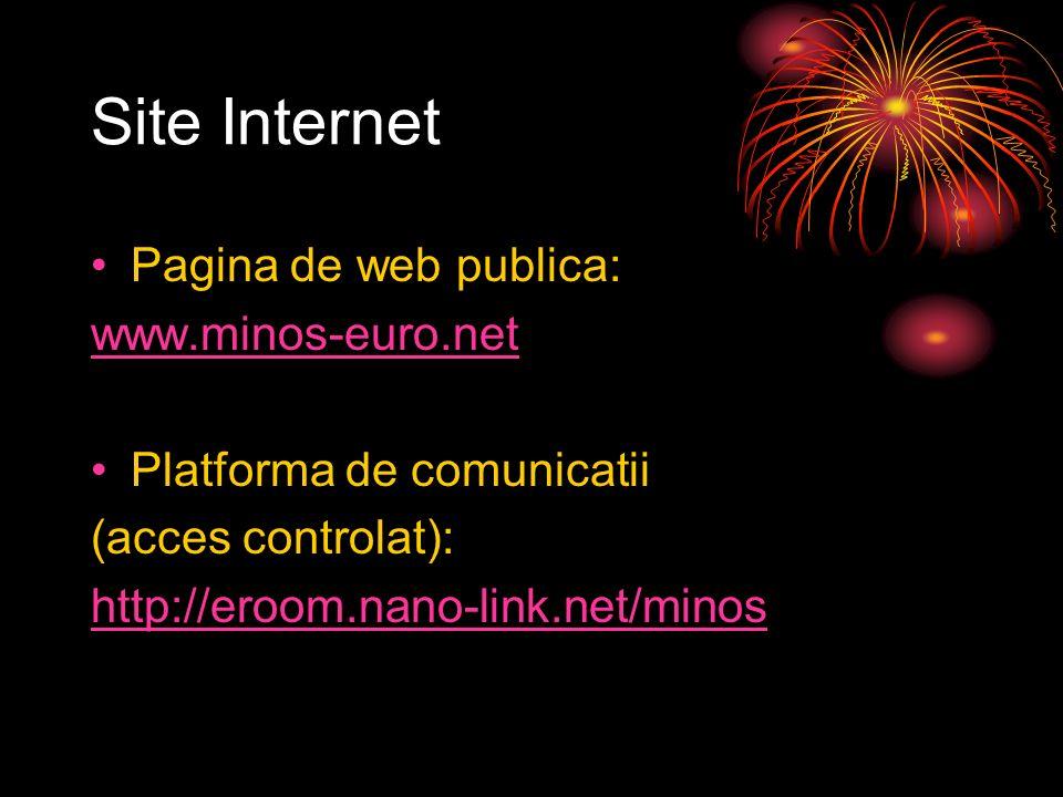 Site Internet Pagina de web publica: www.minos-euro.net Platforma de comunicatii (acces controlat): http://eroom.nano-link.net/minos