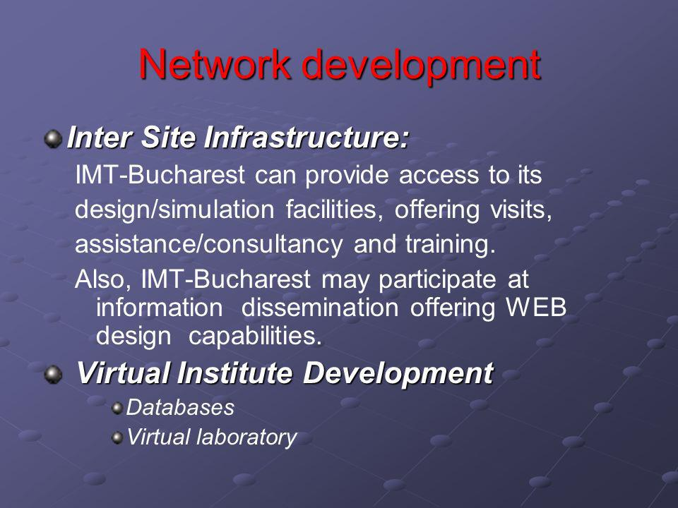 Network development Inter Site Infrastructure: IMT-Bucharest can provide access to its design/simulation facilities, offering visits, assistance/consultancy and training.