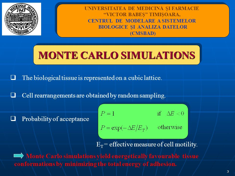 3 MONTE CARLO SIMULATIONS The biological tissue is represented on a cubic lattice. Cell rearrangements are obtained by random sampling. Probability of