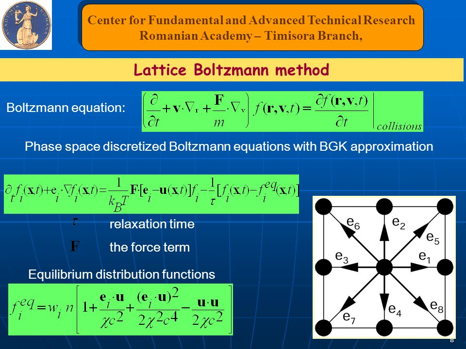 8 Phase space discretized Boltzmann equations with BGK approximation Equilibrium distribution functions Boltzmann equation: the force term relaxation time Center for Fundamental and Advanced Technical Research Romanian Academy – Timisora Branch, Center for Fundamental and Advanced Technical Research Romanian Academy – Timisora Branch, Lattice Boltzmann method