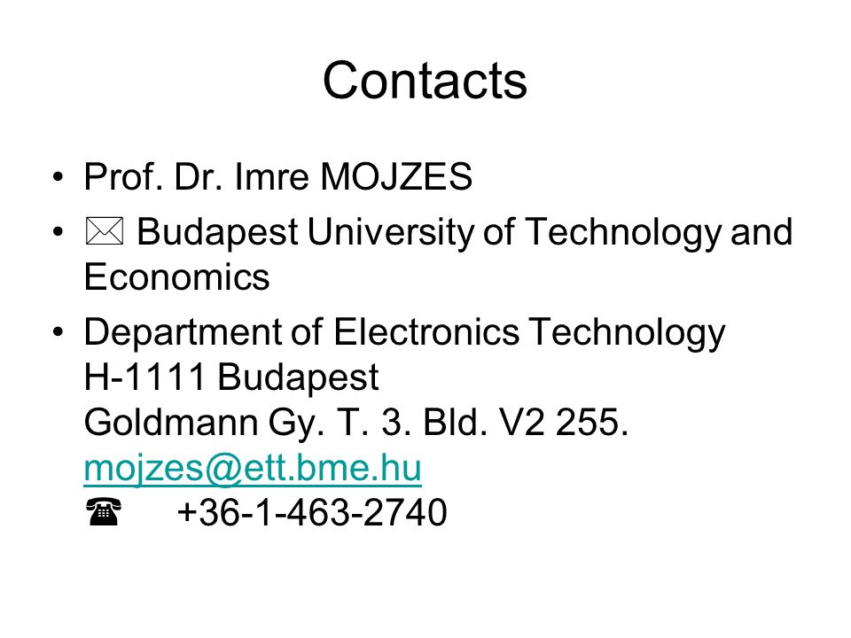 Contacts Prof. Dr.