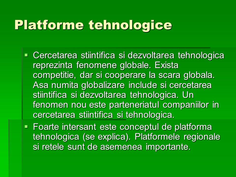 Platforme tehnologice Cercetarea stiintifica si dezvoltarea tehnologica reprezinta fenomene globale. Exista competitie, dar si cooperare la scara glob