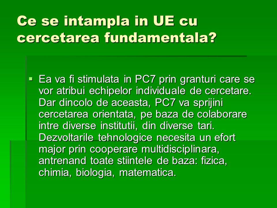 Ce se intampla in UE cu cercetarea fundamentala? Ea va fi stimulata in PC7 prin granturi care se vor atribui echipelor individuale de cercetare. Dar d