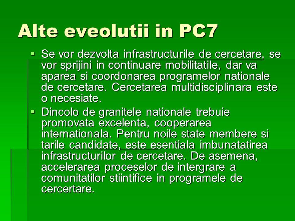 Alte eveolutii in PC7 Se vor dezvolta infrastructurile de cercetare, se vor sprijini in continuare mobilitatile, dar va aparea si coordonarea programelor nationale de cercetare.