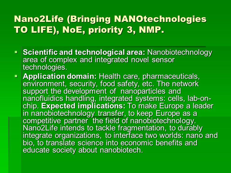 Nano2Life (Bringing NANOtechnologies TO LIFE), NoE, priority 3, NMP.