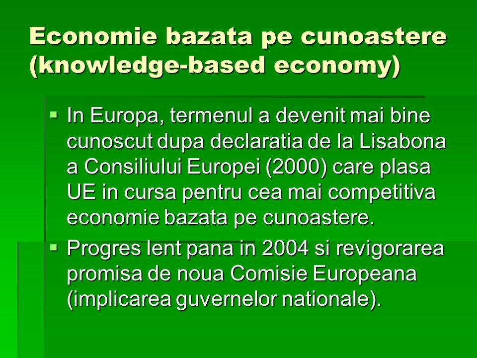 Economie bazata pe cunoastere (knowledge-based economy) In Europa, termenul a devenit mai bine cunoscut dupa declaratia de la Lisabona a Consiliului Europei (2000) care plasa UE in cursa pentru cea mai competitiva economie bazata pe cunoastere.