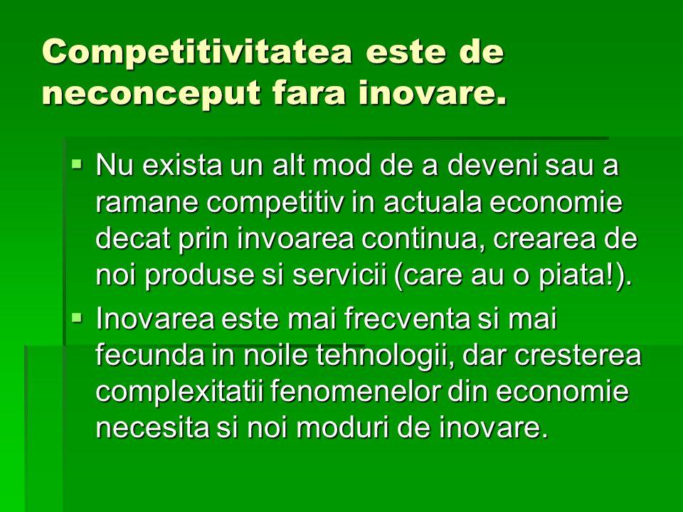 Competitivitatea este de neconceput fara inovare. Nu exista un alt mod de a deveni sau a ramane competitiv in actuala economie decat prin invoarea con