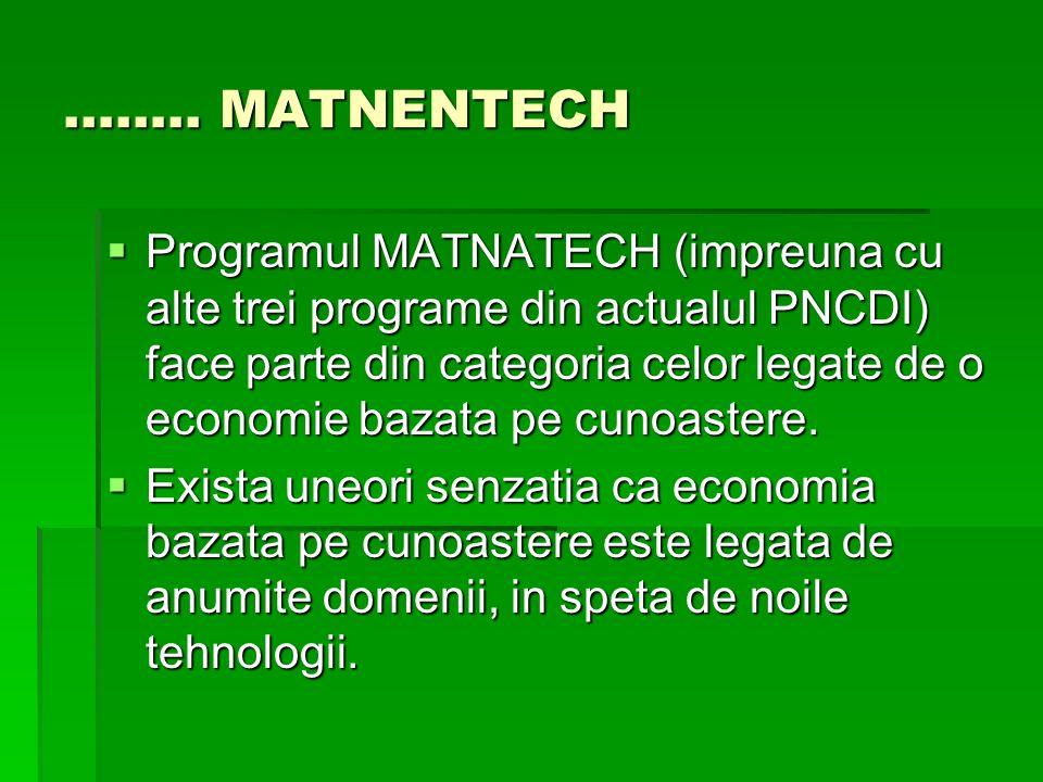 …….. MATNENTECH Programul MATNATECH (impreuna cu alte trei programe din actualul PNCDI) face parte din categoria celor legate de o economie bazata pe
