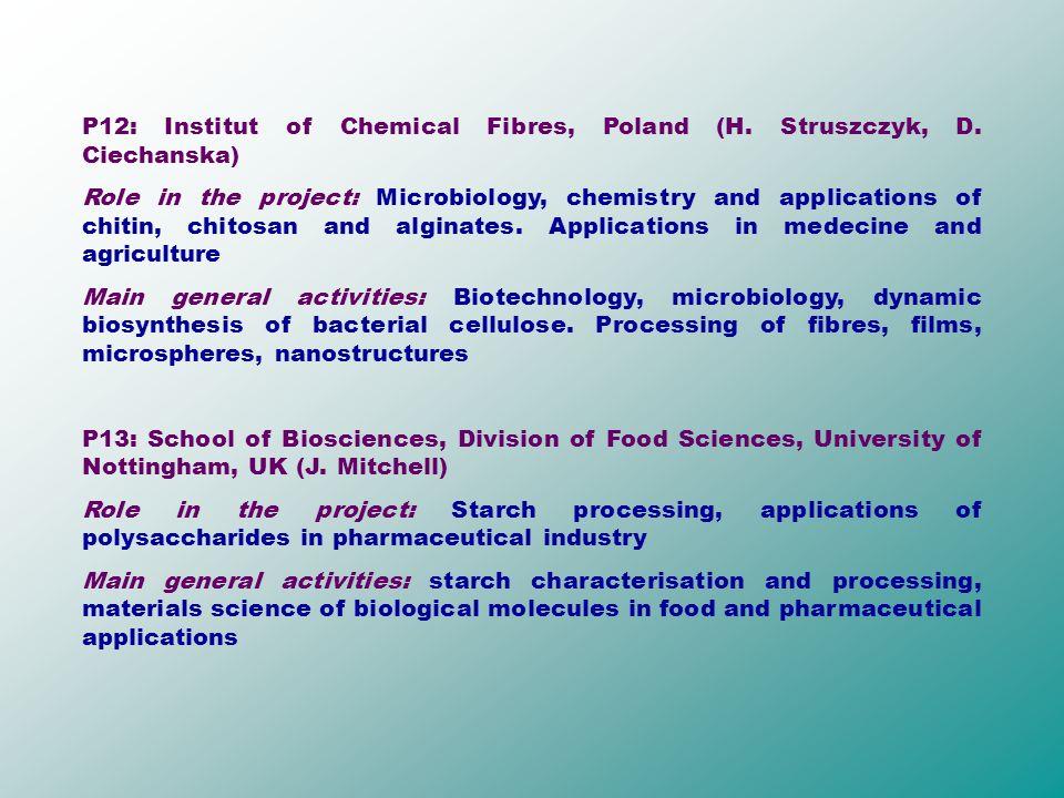 P12: Institut of Chemical Fibres, Poland (H. Struszczyk, D.