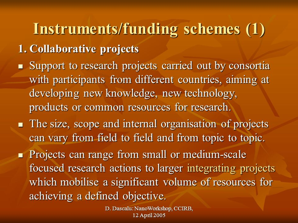 D. Dascalu: NanoWorkshop, CCIRB, 12 April 2005 Instruments/funding schemes (1) 1.