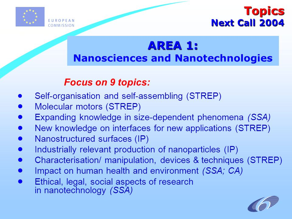 Focus on 9 topics: Self-organisation and self-assembling (STREP) Molecular motors (STREP) Expanding knowledge in size-dependent phenomena (SSA) New knowledge on interfaces for new applications (STREP) Nanostructured surfaces (IP) Industrially relevant production of nanoparticles (IP) Characterisation/ manipulation, devices & techniques (STREP) Impact on human health and environment (SSA; CA) Ethical, legal, social aspects of research in nanotechnology (SSA) AREA 1: AREA 1: Nanosciences and Nanotechnologies Topics Next Call 2004