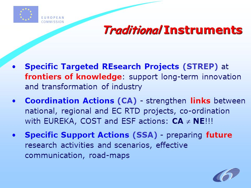 Specific Targeted REsearch Projects (STREP) at frontiers of knowledge: support long-term innovation and transformation of industry Coordination Actions (CA) - strengthen links between national, regional and EC RTD projects, co-ordination with EUREKA, COST and ESF actions: CA NE!!.