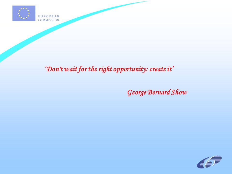Don t wait for the right opportunity: create it George Bernard Show