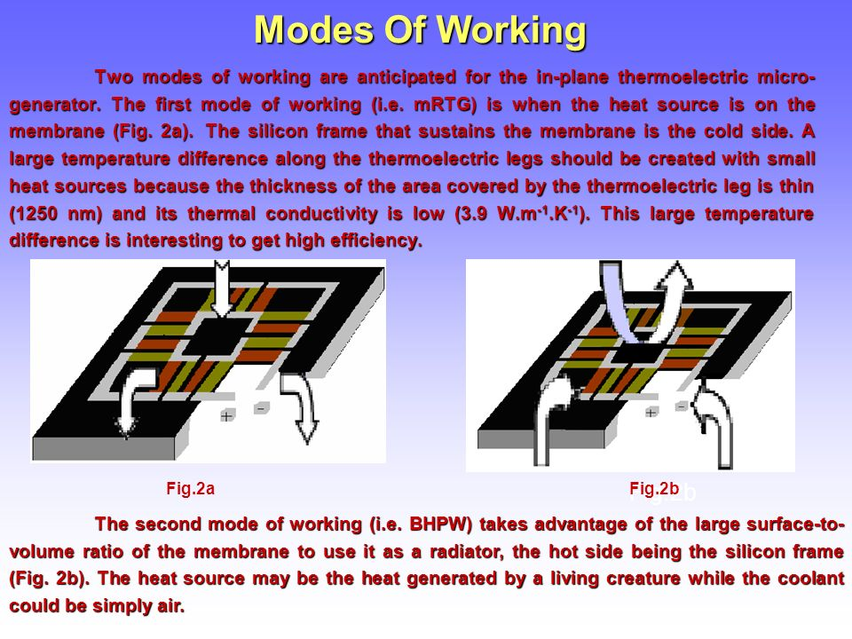 Modes Of Working Two modes of working are anticipated for the in-plane thermoelectric micro- generator.