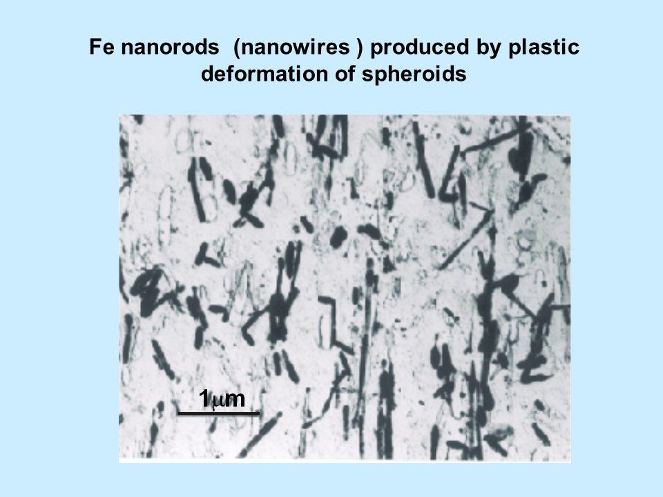 Fe nanorods (nanowires ) produced by plastic deformation of spheroids