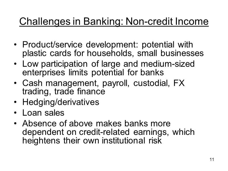 11 Challenges in Banking: Non-credit Income Product/service development: potential with plastic cards for households, small businesses Low participation of large and medium-sized enterprises limits potential for banks Cash management, payroll, custodial, FX trading, trade finance Hedging/derivatives Loan sales Absence of above makes banks more dependent on credit-related earnings, which heightens their own institutional risk