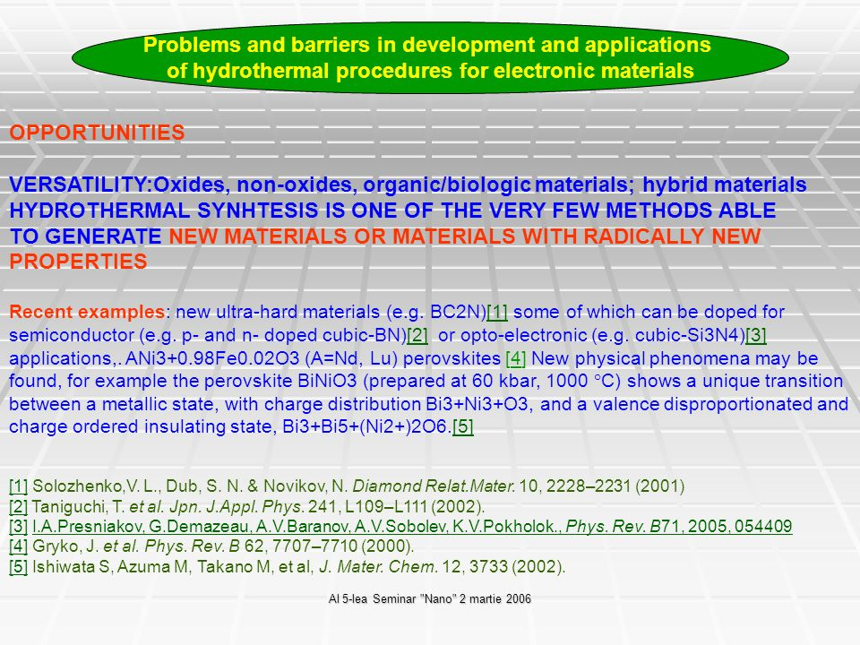 Al 5-lea Seminar Nano 2 martie 2006 Applications: synthesis of Al-doped ZnO