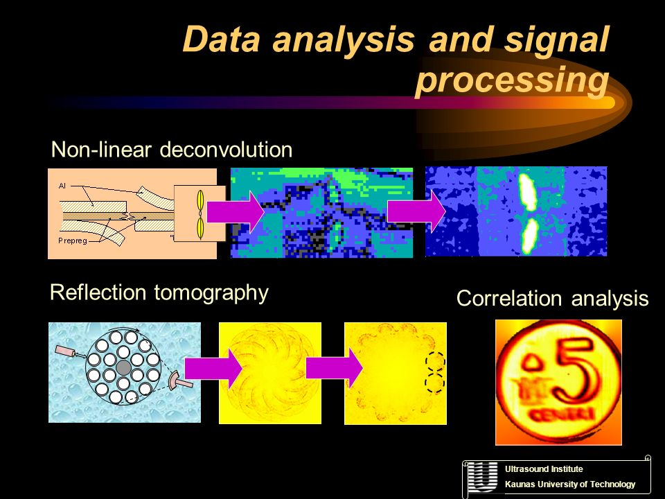 Ultrasound Institute Kaunas University of Technology Data analysis and signal processing Non-linear deconvolution Reflection tomography Correlation an