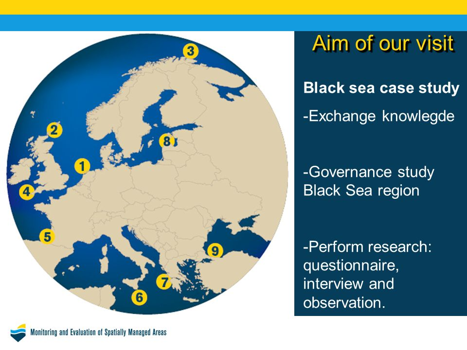 Aim of our visit Black sea case study -Exchange knowlegde -Governance study Black Sea region -Perform research: questionnaire, interview and observation.