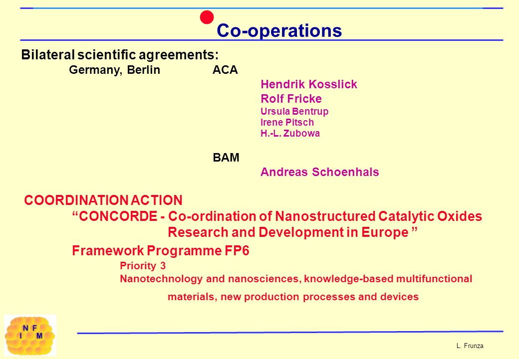 Co-operations Bilateral scientific agreements: Germany, Berlin ACA Hendrik Kosslick Rolf Fricke Ursula Bentrup Irene Pitsch H.-L.
