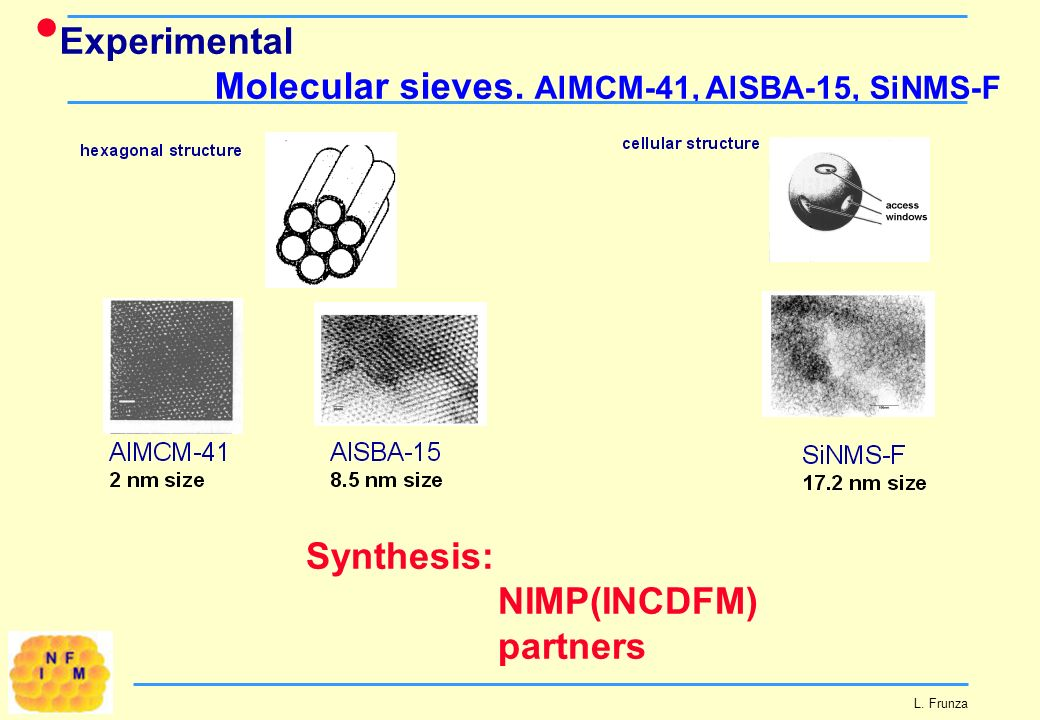 Experimental Molecular sieves. AlMCM-41, AlSBA-15, SiNMS-F L. Frunza Synthesis: NIMP(INCDFM) partners