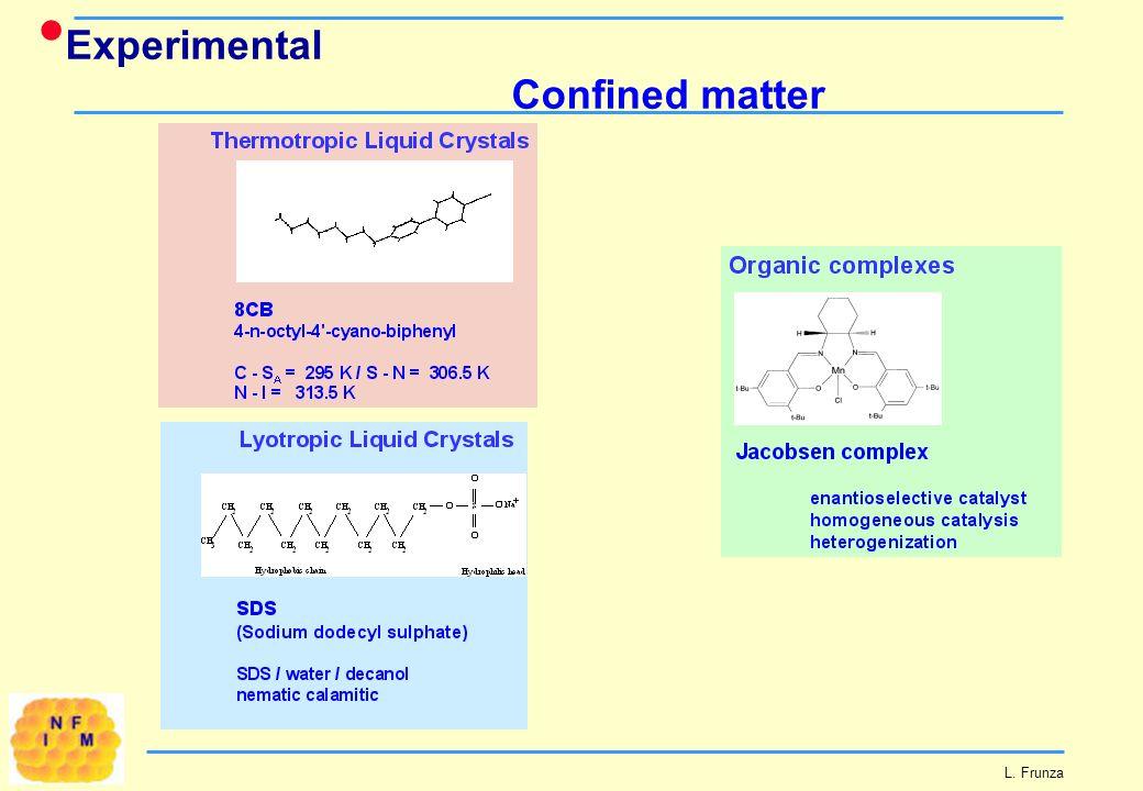 Experimental Confined matter L. Frunza
