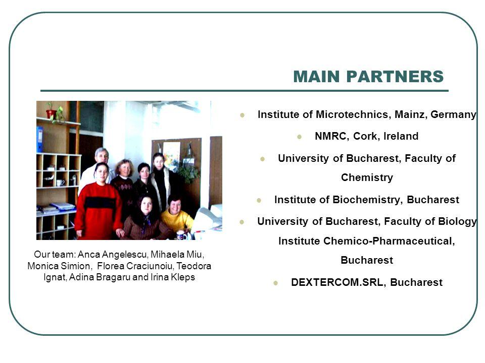 MAIN PARTNERS Institute of Microtechnics, Mainz, Germany NMRC, Cork, Ireland University of Bucharest, Faculty of Chemistry Institute of Biochemistry,