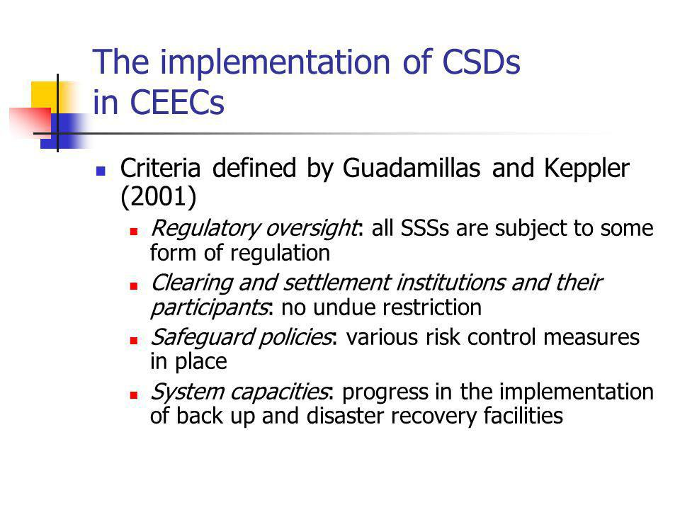 The implementation of CSDs in CEECs Criteria defined by Guadamillas and Keppler (2001) Regulatory oversight: all SSSs are subject to some form of regulation Clearing and settlement institutions and their participants: no undue restriction Safeguard policies: various risk control measures in place System capacities: progress in the implementation of back up and disaster recovery facilities