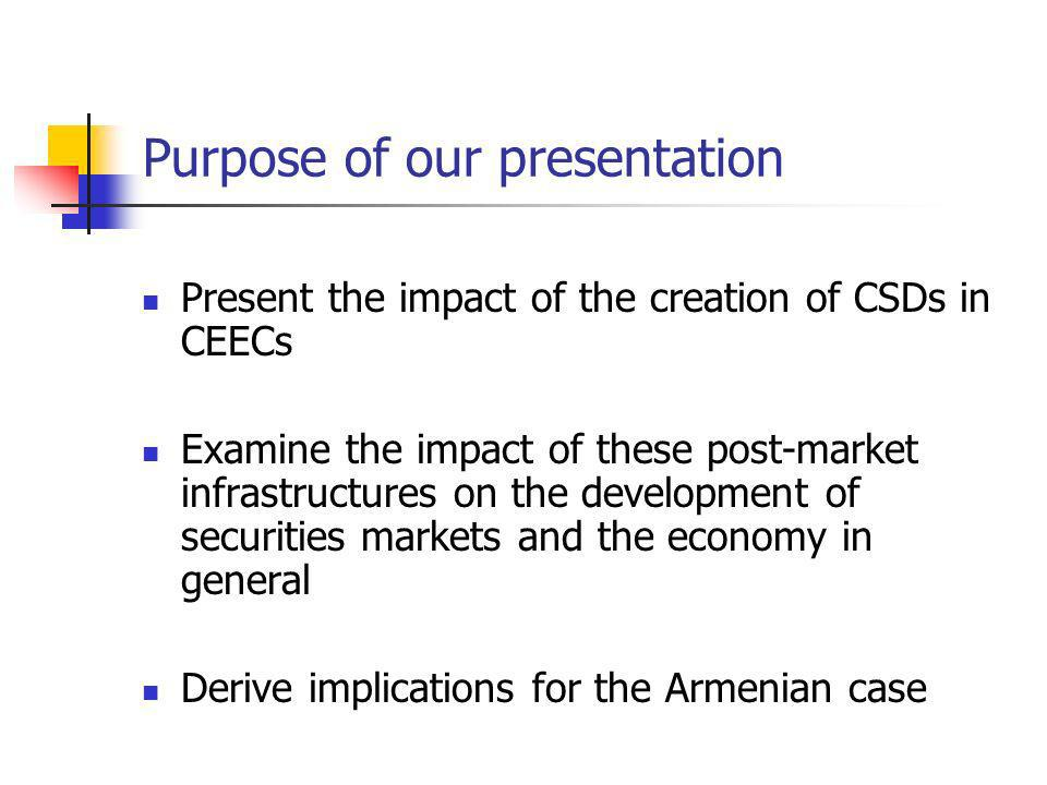 The implementation of CSDs in CEECs In grey : arithmetic scale Data: from ECB, Blue Book In white: semi-logarithmic scale Volumes of trading transactions & of settlement instructions