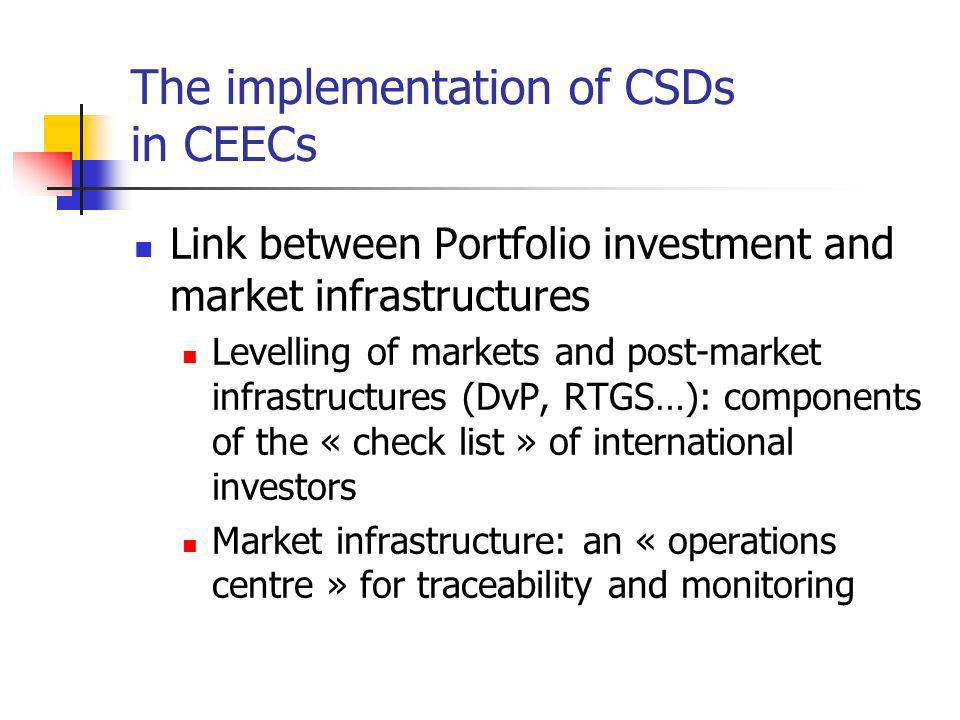 Link between Portfolio investment and market infrastructures Levelling of markets and post-market infrastructures (DvP, RTGS…): components of the « ch