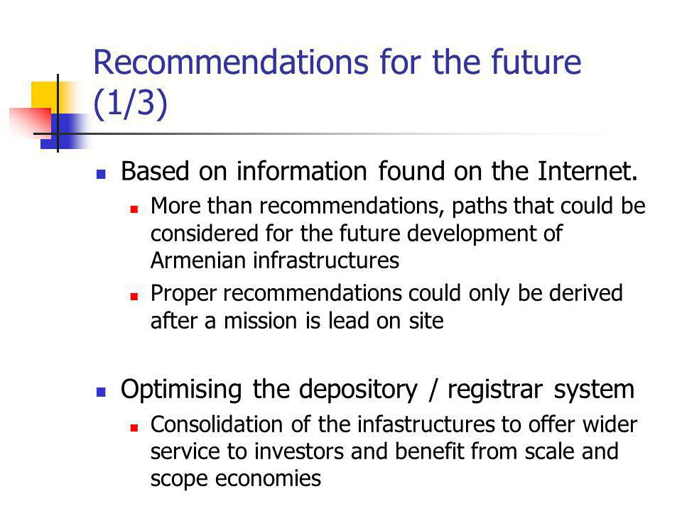 Recommendations for the future (1/3) Based on information found on the Internet.