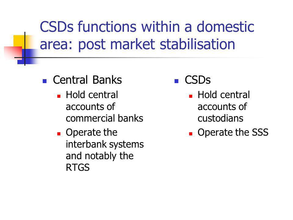 The implementation of CSDs in CEECs In most countries under review, CSDs activity in volume & in value of transactions handled went along with the development of the volume of transactions on stock exchanges A covariation sometimes blurred by the coexistence of several SSSs (for instance when the Central Bank operates a specific system for public bonds)