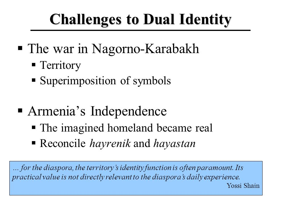 Challenges to Dual Identity The war in Nagorno-Karabakh Territory Superimposition of symbols Armenias Independence The imagined homeland became real R