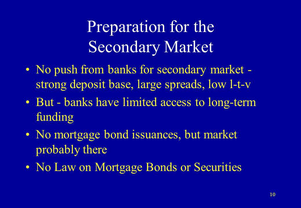 10 Preparation for the Secondary Market No push from banks for secondary market - strong deposit base, large spreads, low l-t-v But - banks have limited access to long-term funding No mortgage bond issuances, but market probably there No Law on Mortgage Bonds or Securities