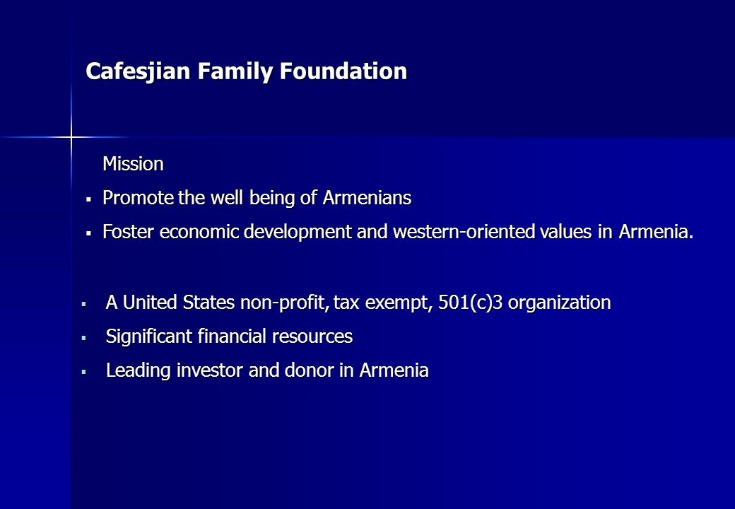 Cafesjian Family Foundation Program Investments Armenian Genocide Museum in Washington D.C., USA Armenian Genocide Museum in Washington D.C., USA Gerard L.