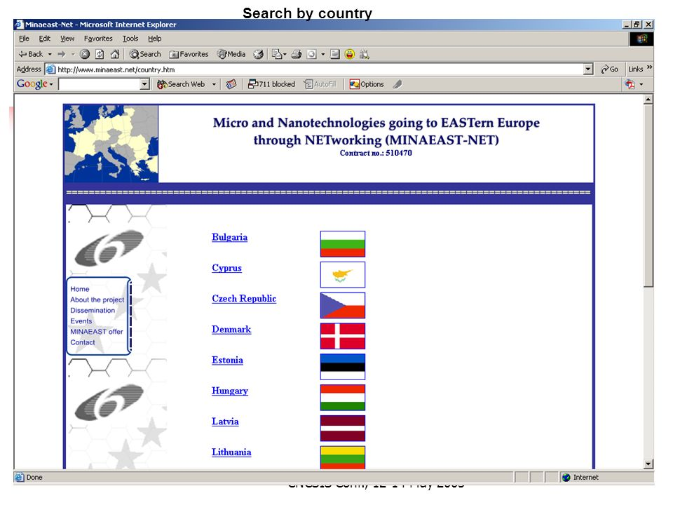 D. Dascalu NoE and ERA , CNCSIS Conf., May 2005 Search by country