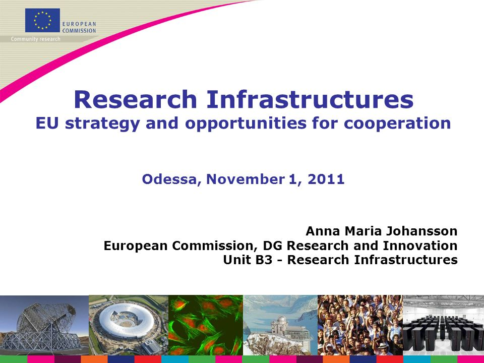 Anna Maria Johansson European Commission, DG Research and Innovation Unit B3 - Research Infrastructures Research Infrastructures EU strategy and oppor