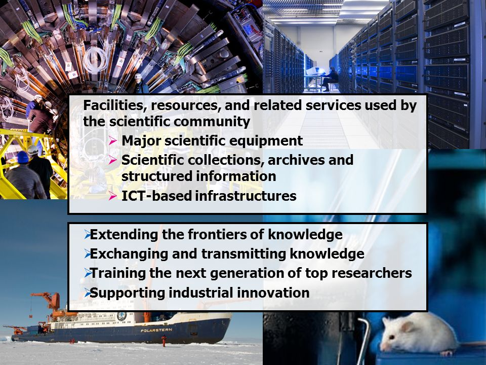 Facilities, resources, and related services used by the scientific community Major scientific equipment Scientific collections, archives and structure