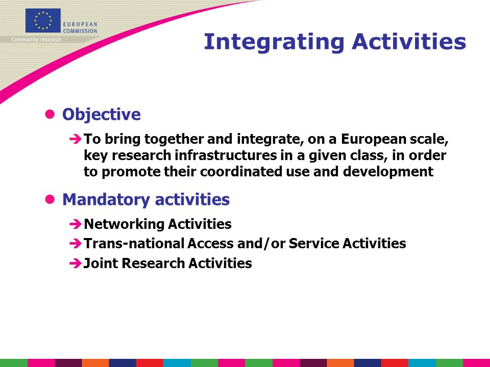 Integrating Activities lObjective èTo bring together and integrate, on a European scale, key research infrastructures in a given class, in order to pr