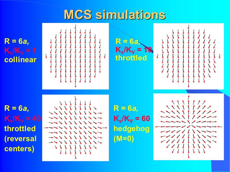 MCS simulations R = 6a, K s /K V = 1 collinear R = 6a, K s /K V = 10 throttled R = 6a, K s /K V = 40 throttled (reversal centers) R = 6a, K s /K V = 60 hedgehog (M=0)