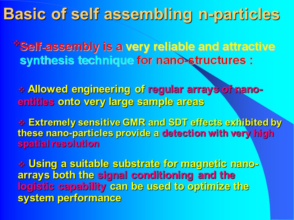 Basic of self assembling n-particles Allowed engineering of regular arrays of nano- entities onto very large sample areas Allowed engineering of regul